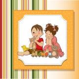 Giochi del ragazzo e della ragazza con i giocattoli illustrazione di stock