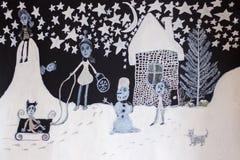 Giochi del ` s dei bambini di inverno Vacanze invernali dipinte a mano royalty illustrazione gratis