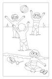 Giochi dell'acqua (immagine in in bianco e nero a colore, FO Fotografia Stock Libera da Diritti