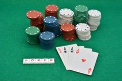 Giochi di conquista del poker, poker degli assi fotografie stock libere da diritti