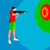 Giochi di estate del giocatore della fucilazione atleta isometrico del tiratore 3D Concorrenza internazionale di sport della fuci Immagini Stock
