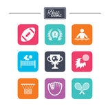 Giochi di sport, icona di forma fisica Calcio, golf Fotografia Stock