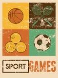 Giochi di sport Retro manifesto tipografico di lerciume Pallacanestro, volano, calcio, tennis Illustrazione di vettore Immagine Stock
