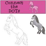 Giochi educativi per i bambini: Colleghi i punti Cavallo sveglio illustrazione di stock