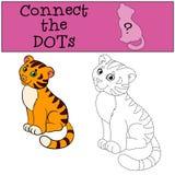Giochi educativi per i bambini: Colleghi i punti Piccola tigre sveglia royalty illustrazione gratis