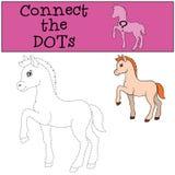 Giochi educativi per i bambini: Colleghi i punti Poco puledro sveglio illustrazione di stock