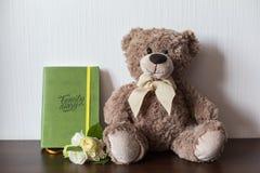 Giochi il diario della famiglia e dell'orso con la copertura di cuoio verde Immagini Stock Libere da Diritti