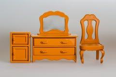 Giochi la mobilia, lo scrittorio di legno, l'armadio e la sedia Immagini Stock Libere da Diritti