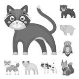 Giochi le icone monocromatiche degli animali nella raccolta dell'insieme per progettazione L'uccello, il predatore e l'erbivoro v Immagine Stock