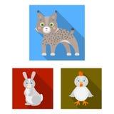 Giochi le icone piane degli animali nella raccolta dell'insieme per progettazione L'uccello, il predatore e l'erbivoro vector l'i Fotografia Stock