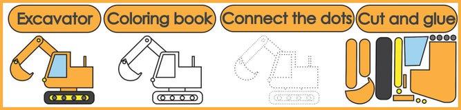 Giochi per i bambini 3 in 1 Il libro da colorare, collega i punti, taglio illustrazione vettoriale