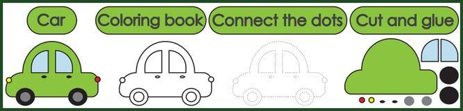 Giochi per i bambini 3 in 1 Il libro da colorare, collega i punti, taglio illustrazione di stock