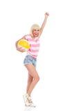 Giochiamo il beach ball Fotografia Stock