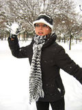Giochiamo le palle di neve Fotografie Stock