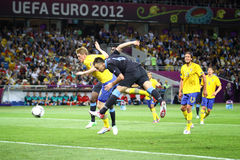Gioco 2012 dell'EURO dell'UEFA Svezia contro l'Inghilterra Immagini Stock