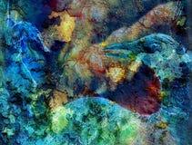 Gioco capo del gatto arancio radiante e dell'uccello con una piuma del pavone, Immagine Stock