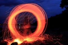 Gioco con fuoco Fotografia Stock
