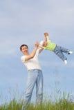 Gioco con il padre 11 Fotografia Stock