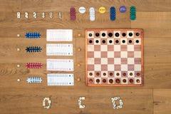 Gioco da tavolo e fondo di gioco Fotografia Stock