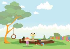 Gioco dei bambini alla sabbiera illustrazione vettoriale