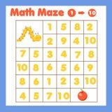 Gioco dei bambini di Educatiional Labirinto di matematica Labirinto con i numeri Contando uno - dieci Attivit? di tema degli anim illustrazione vettoriale