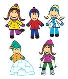 Gioco dei bambini di inverno Immagine Stock