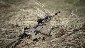 Gioco del airsoft o di guerra l'arma automatica del Sabbia-fucile con un mirino si trova sull'erba asciutta sul campo stock footage