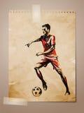 Gioco del calcio, abbozzo del calciatore sulla nota invecchiata Pape Immagine Stock