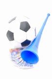 Gioco del calcio, bordi sudafricani, Vuvuzela Fotografia Stock Libera da Diritti