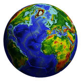 Gioco del calcio con struttura del globo Fotografia Stock Libera da Diritti