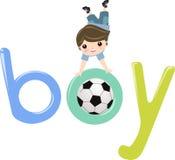 Gioco del calcio del ragazzo Fotografia Stock