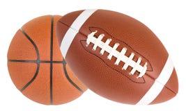 Gioco del calcio e pallacanestro isolati fotografie stock