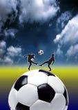 Gioco del calcio nell'azione Immagine Stock Libera da Diritti