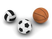 Gioco del calcio, pallacanestro e pallavolo Immagine Stock