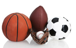 Gioco del calcio, Soccerball, baseball e pallacanestro Fotografia Stock Libera da Diritti