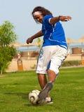 Gioco del calcio solo. Fotografia Stock