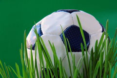 Gioco del calcio su erba verde immagini stock libere da diritti