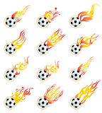 Gioco del calcio su fuoco Immagini Stock