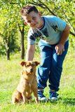 Gioco del cane e del bambino all'aperto all'ambiente di verde del cortile Fotografia Stock