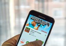 Gioco del cellulare di Minecraft Fotografie Stock Libere da Diritti
