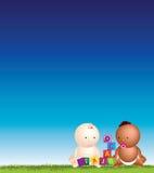 Gioco del cielo blu dei bambini Fotografia Stock Libera da Diritti