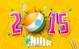 Gioco del cricket con incoraggiare pubblico Immagini Stock Libere da Diritti