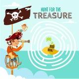 Gioco del fumetto circa il pirata ed il suo tesoro Fotografia Stock Libera da Diritti