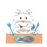 Gioco del gatto dei puntini sulla tabella illustrazione di stock