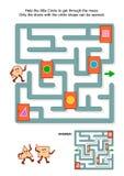 Gioco del labirinto con il cerchio e le porte contrassegnate Fotografia Stock Libera da Diritti