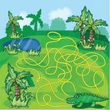Gioco del labirinto con il coccodrillo Fotografie Stock