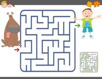 Gioco del labirinto con il ragazzo ed il cane illustrazione di stock