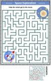 Gioco del labirinto con il razzo e la luna illustrazione vettoriale