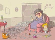 Gioco del labirinto del Crochet della nonna illustrazione vettoriale