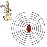 Gioco del labirinto del labirinto Trovi un modo per coniglio Fotografia Stock Libera da Diritti